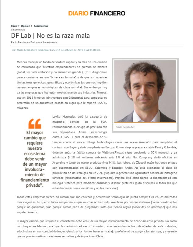 Columna Pablo Fernández en Diario Financiero